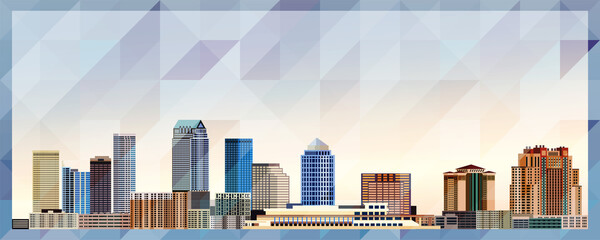 Tampa skyline vector colorful poster on beautiful triangular texture background