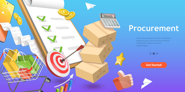 3D Isometric Flat Vector Conceptual Illustration of Procurement, Process of Finding and Agreeing to Terms, Purchasing Goods or Services