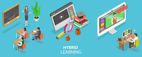 Fototapeta 3D Isometric Flat Vector Conceptual Illustration of Hybrid or Blended Learning, Combining Online Education with Traditional Place-based Classroom Methods obraz
