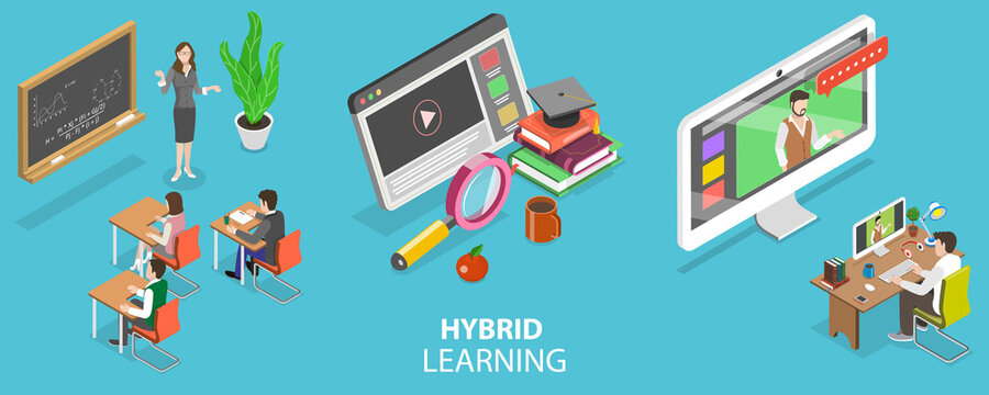 3D Isometric Flat Vector Conceptual Illustration of Hybrid or Blended Learning, Combining Online Education with Traditional Place-based Classroom Methods