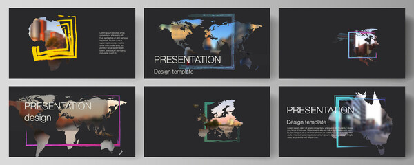 Obraz Vector layout of the presentation slides design business templates, multipurpose template for presentation brochure. Design template in the form of world maps and colored frames, insert your photo. - fototapety do salonu