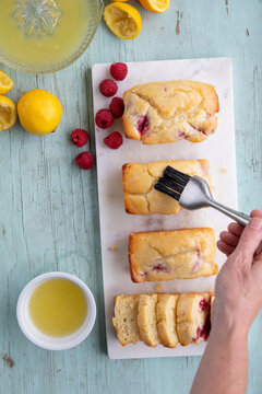 Mini raspberry lemon loaves