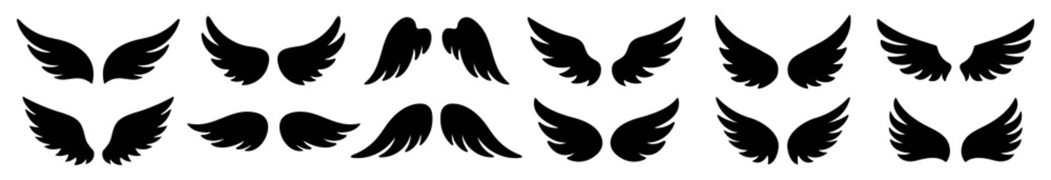 Wings icon set, Wings Collection in different shape, Wings badges, Vector illustration.