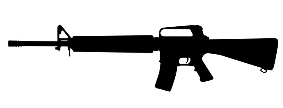 Vector image silhouette of modern military assault rifle symbol illustration isolated on white background. Army and police weapons.