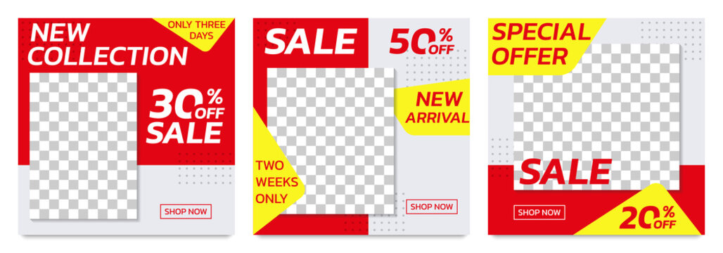 Sale banners template for social media post. Modern discount poster or frame set for web advertising and promotion with 20, 30, 50 percent price off. Vector illustration.