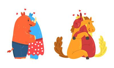 Obraz Animal Couples in Love Set, Cute Romantic Rhino and Horse Characters Hugging Cartoon Vector Illustration - fototapety do salonu