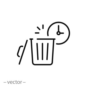 trash bin with clock, icon, recycle time, hour cleaning, waste, thin line symbol on white background - editable stroke vector eps10