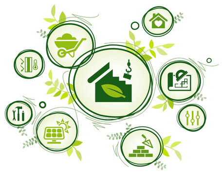 Eco friendly home construction vector illustration. Concept with icons related to environmentally sustainable house building including solar energy, green ecological building design & architecture.
