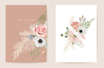 Obraz Wedding summer floral invitation, dry flowers, dried pampas grass card, watercolor template vector - fototapety do salonu