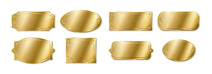 Gold or brass plates, golden name plaques mockup. Metal identification tags frame for nameplate