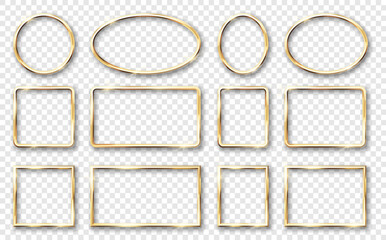 Fototapeta Golden shiny glowing frames set with shadows. Gold glossy luxury realistic square round oval borders obraz