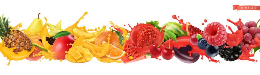 Fototapeta Fruit and berries burst. Splash of juice 3d realistic obraz