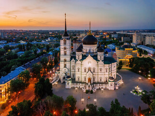Evening summer Voronezh, Annunciation Cathedral, aerial drone view - fototapety na wymiar