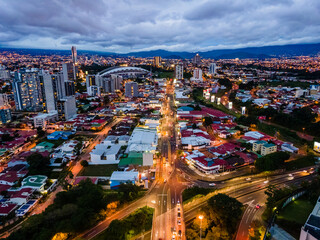 Obraz Beautiful aerial view of the city of San Jose Costa Rica At Night with lots of lights  - fototapety do salonu