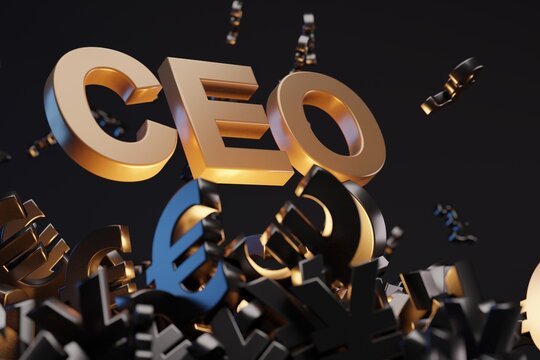 Money with acronym 'CEO' - 'Chief Executive Officer', studio background. Business concept
