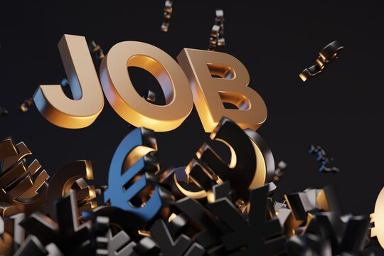 Money sign with acronym 'JOB', studio background. Business concept