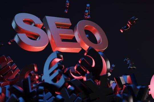 SEO - Search Engine Optimisation concept. 3D rendering image
