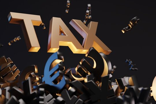 Money signs with acronym 'TAX' - 'Value Added Tax', studio background. Business concept and copy space.