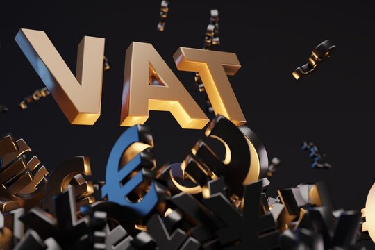 Money signs with acronym 'VAT' - 'Value Added Tax', studio background. Business concept and copy space.
