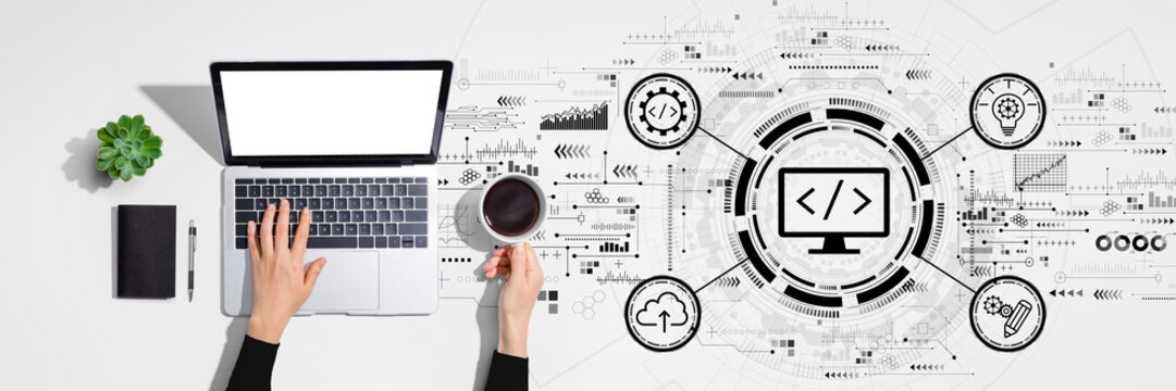 Web development concept with person using laptop computer