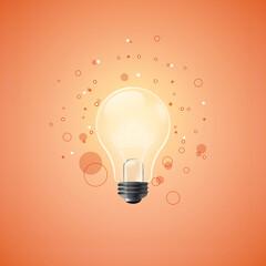 Fototapeta Świecąca żarówka na pomarańczowym tle z abstrakcyjnymi geometrycznymi elementami - ilustracja jako koncepcja inspiracji, pomysłu, kreatywności. obraz