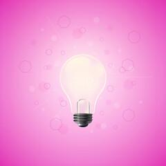 Fototapeta Świecąca żarówka na różowym tle z abstrakcyjnymi geometrycznymi elementami - ilustracja jako koncepcja inspiracji, pomysłu, kreatywności. obraz