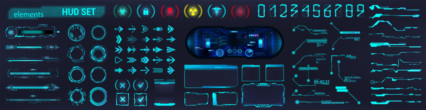 Blue HUD and Sci-fi UI collection elements - Futuristic circle, Frames, Callouts titles, loading bars, arrows, holograms VR, icons, bar labels and lines. HUD collection for UI, UX, GUI design. Vector
