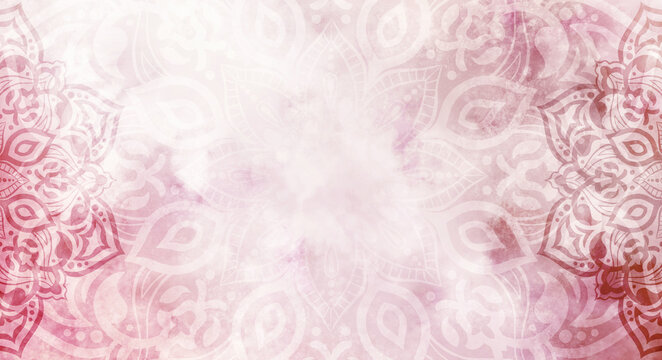 Rustic vintage feel red, pink and wine watercolour textured mandala background - frame, copy space