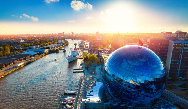 Aerial top view city Kaliningrad Russia museum of world ocean ships and submarine summer sunset