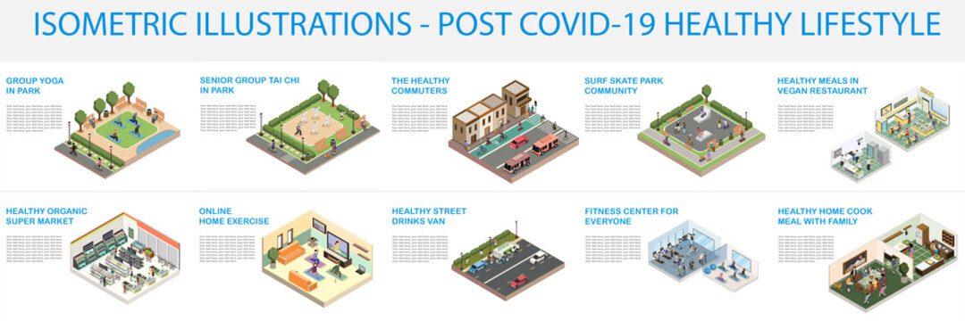Healthy lifestyle collection. Vegan food, Home exercise, yoga in park, tai chi in park, home cooking, healthy organic super market, healthy commute, fitness center. Isometric.