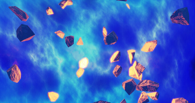 Render with pieces of meteorites on bright blue space