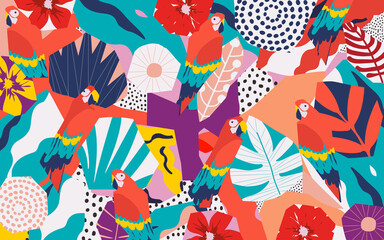 Tropical flowers and leaves poster background with parrots. Colorful summer vector illustration design. Exotic tropical art print for travel and holiday, fabric and fashion - fototapety na wymiar