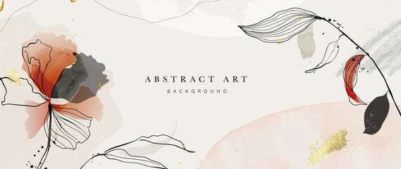 Obraz Abstract art botanical pink background vector. Luxury wallpaper with pink and earth tone watercolor, leaf, flower, tree and gold glitter. Minimal Design for text, packaging, prints, wall decoration. - fototapety do salonu