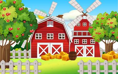 Obraz Farm scene with red barn and windmill - fototapety do salonu