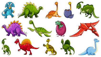 Set of different dinosaur cartoon character isolated on white background - fototapety na wymiar