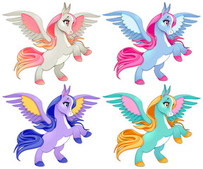 Baby pegasus on two legs. Cartoon vector isolated characters.