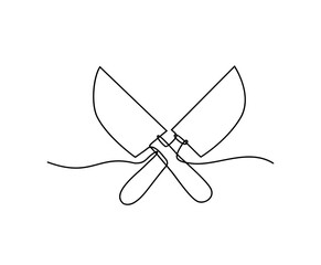 Continuous one line drawing of Cleaver vector design. Knife hand drawn minimalism style.