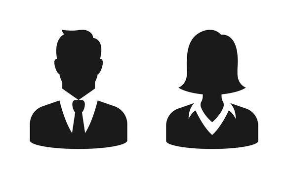 Male and female bust silhouette or icon. Man and woman profile avatar. Unknown or anonymous person. Vector illustration.