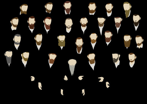 A group of ultra-Orthodox Jewish men, Torah observant, in traditional dress. Accompanied by an adult rabbi with a gray beard. The figures are bearded in different hair colors on a black background.