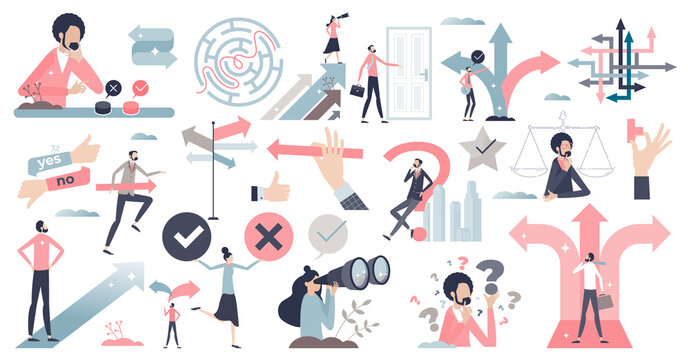 Decisions, doubt, dilemma or question elements in tiny persons collection set. Various mini scenes items with business path or career route choice vector illustration. Various direction arrow options