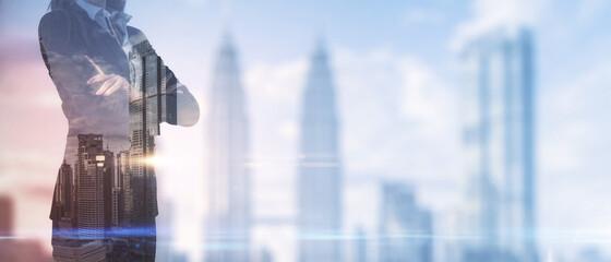 Obraz Businesswoman standing on blurry New York city background. Success and leadership concept. Multiexposure. - fototapety do salonu
