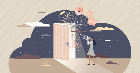 Obraz Curiosity and cognition with looking in unknown future tiny person concept. Female exploring and observe process as standing with binoculars and view surroundings vector illustration. Curious scene. - fototapety do salonu