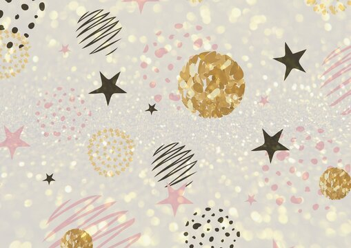 Composition of black stars, gold circles and sparkles, pink and cream shapes on white background