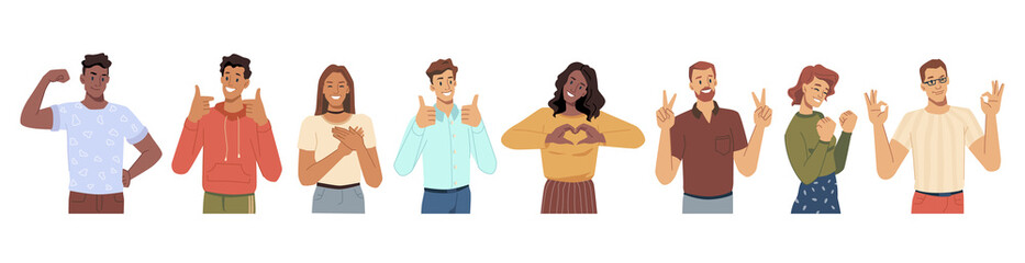Obraz Cheerful men and women gesturing and smiling. Heart sing and thumb up approval symbol, okay and love, luck and success. Male and female characters, young teenagers personages, flat cartoon vector - fototapety do salonu