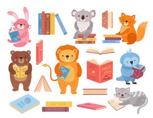 Obraz Cute animals with books. Animal read, book stacks. School study characters, bird rabbit bear in library. Children education exact vector set - fototapety do salonu