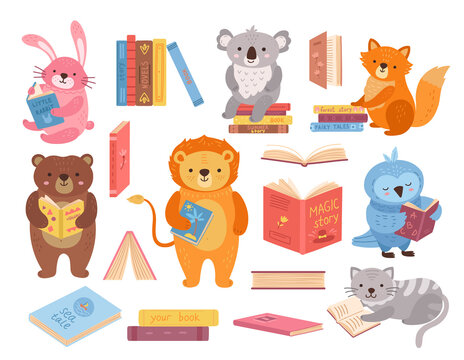 Cute animals with books. Animal read, book stacks. School study characters, bird rabbit bear in library. Children education exact vector set