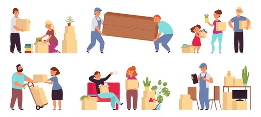 Obraz People moving in new home. Help transportation, delivery company move sofa. Couple relocation, family with packages and furniture decent vector set - fototapety do salonu