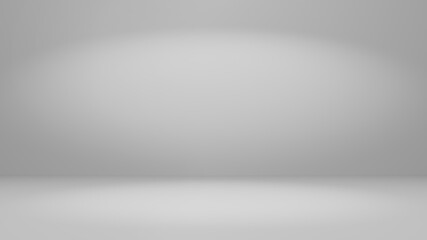 Grey and dim white abstract room background with top and middle spotlights for advertising, technology, banner, cosmetic ads, showroom, fashion, Sci-Fi Product display concept as 3D rendering