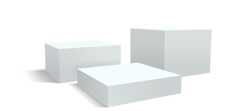Podium pedestal, display or stage stand background, racked dais platform. Vector 3D realistic white studio podium or product display pedestal and platform pillar blocks