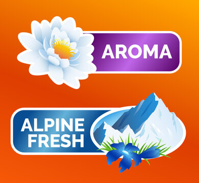 Washing clothes sticker, White lotus flower and alpine freshness symbol with mountains and flowers, laundry detergent advertising, vector illustration isolated.